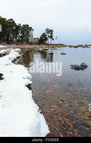 Baltic sea coast by winter and Vergi lighthouse afar - Stock Photo