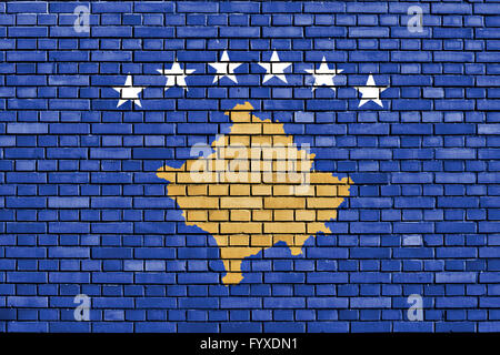 flag of Kosovo painted on brick wall - Stock Photo