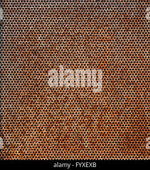 grunge metal holed or perforated grid background - Stock Photo