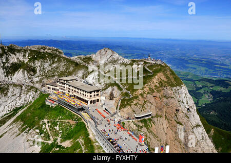 Mountain hotel Pilatus Kulm, Mount Pilatus, Canton of Obwalden, Switzerland - Stock Photo