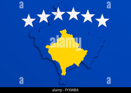 3d rendering of Kosovo map and flag. - Stock Photo