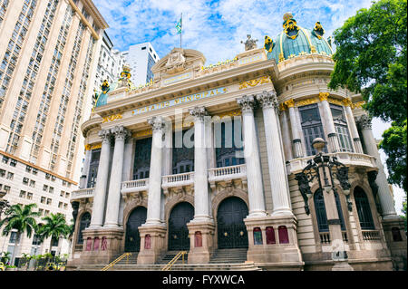 RIO DE JANEIRO - FEBRUARY 26, 2016: The Municipal Theatre, built in 1909 in an Art Nouveau style inspired by the - Stock Photo