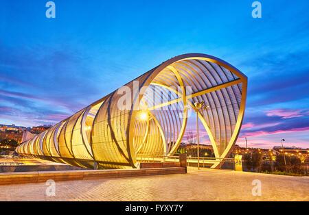 Arganzuela bridge, designed by architect Dominique Perrault. Madrid Rio Park. Madrid. Spain - Stock Photo
