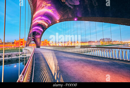 Matadero bridge with urban motifs mosaics by Daniel Canogar. Madrid Rio. Madrid, Spain. - Stock Photo