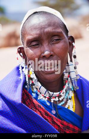 Maasai woman portrait in Tanzania, Africa - Stock Photo