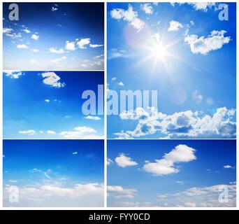 Set of beautiful blue sunny skies - Stock Photo