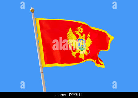Montenegro flag isolated on blue background - Stock Photo