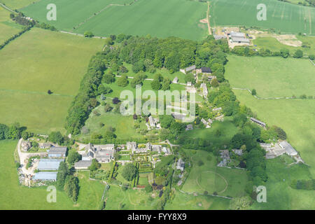 An aerial view of an English Hamlet and surrounding countryside - Stock Photo