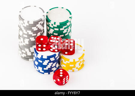 Dice on Chips - Stock Photo