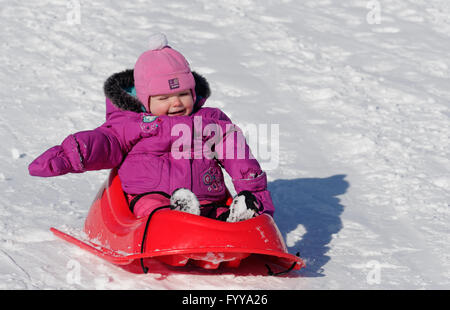 Laughing 2 year old girl in a sledge - Stock Photo