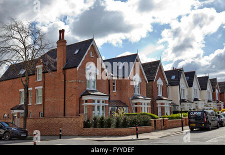 Houses on corner of Abbeville and Elms Rd in Clapham in London UK - Stock Photo