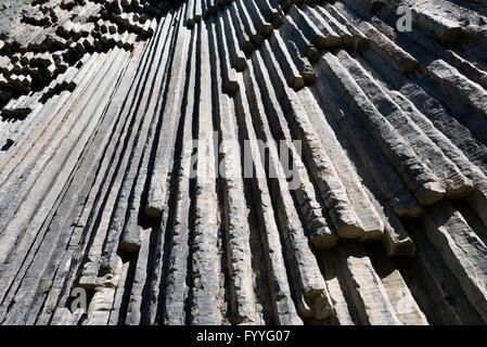 Eurasia, Caucasus region, Armenia, Kotayk province, Garni, Symphony of Stones basalt columns, Unesco World Heritage - Stock Photo