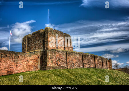 Carlisle Castle - tower on the hill. HDR image. - Stock Photo