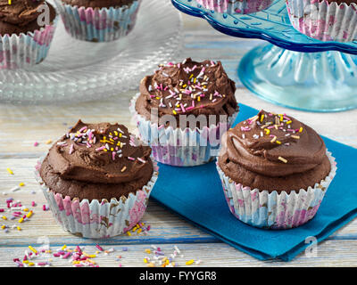Vegan chocolate cupcakes - Stock Photo