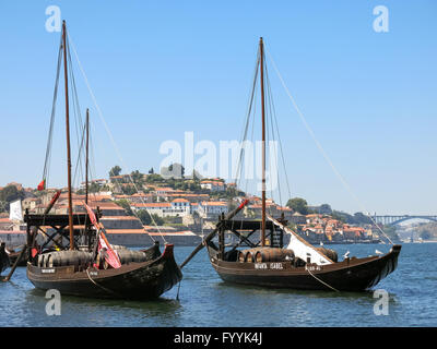 Rabelo boats used for transport Port wine from Douro Valley to Porto, Portugal - Stock Photo