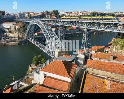 View from Jardim de Morro in Vila Nova de Gaia to Dom Luis I Bridge over Douro River, Porto, Portugal - Stock Photo