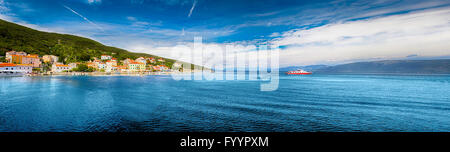 VALUN, CROATIA - August 26, 2914: Panorama view to the village Valun with harbor and boats, Cres island, Croatia - Stock Photo
