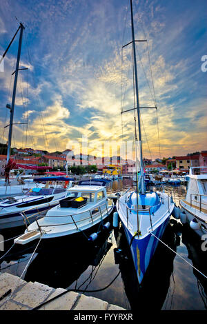 Sali village sunset in harbor vertical view - Stock Photo