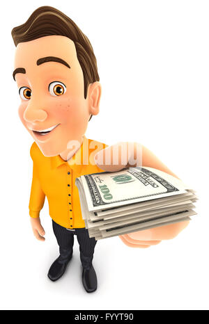 3d man holding a stack of dollar bills, isolated white background - Stock Photo