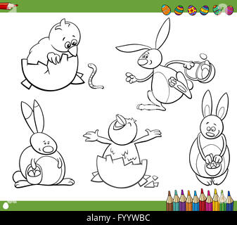 easter characters coloring book - Stock Photo