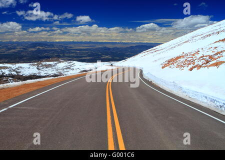 Road through Pikes Peak mountain of Colorado - Stock Photo