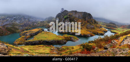 Panorama of lakes in La Arboleda - Stock Photo