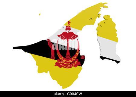 Brunei Flag Map - Stock Photo