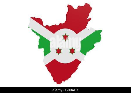 Burundi Flag Map - Stock Photo