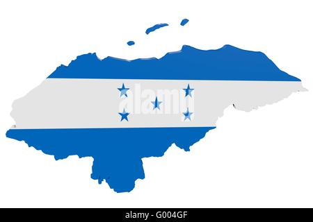 Honduran Flag Map - Stock Photo