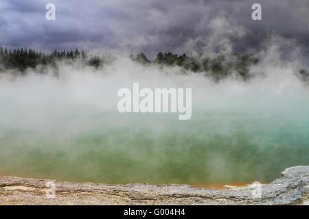 Beautiful volcanic hot spring in Rotorua - Stock Photo