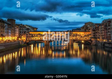Night reflection of Ponte Vecchio - Stock Photo