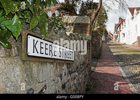 Keere Street in Lewes East Sussex UK - Stock Photo