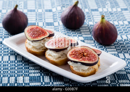 figs with cheese - Stock Photo