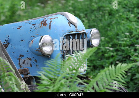Nostalgic tractor in a meadow. - Stock Photo
