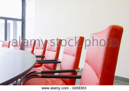Red leather chairs in a conference room Stock Photo: 51468472 - Alamy