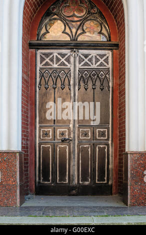 door decoration in forged iron Old town - Stock Photo