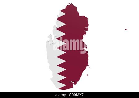 Qatari Flag Map - Stock Photo
