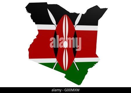 Kenyan Flag Map - Stock Photo