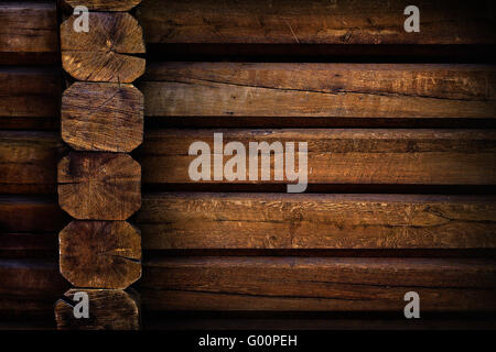 part of a wall of wooden huts close up - Stock Photo