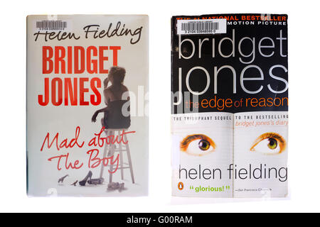 Bridget Jones books by Helen Fielding photographed against a white background. - Stock Photo