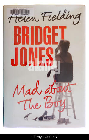 The front cover of Bridget Jones Mad About The Boy by Helen Fielding photographed against a white background. - Stock Photo
