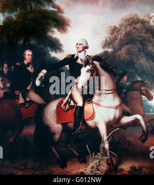 General George Washington in full dress uniform before the final battle of the Revolutionary War at Yorktown, Virginia - Stock Photo