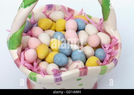 Candy covered Easter eggs in a ceramic basket - Stock Photo