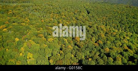 Aerial view from the forest Spessart - Stock Photo