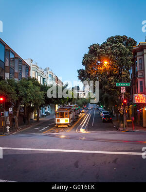 Hyde and Beach streets and the Buena Vista Cafe in San Francisco California with cable cars parked for the evening - Stock Photo