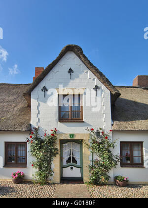 Thatched House in Wyk on Foehr, Germany - Stock Photo
