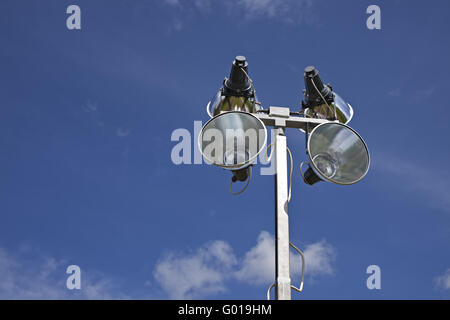 mobile outdoor lightning equipment on a sunny day - Stock Photo