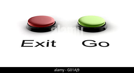 A green and red buzzer button for exit and go - Stock Photo