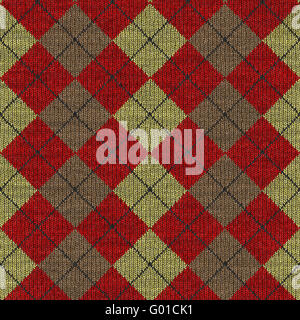 seamless texture of knitted wool gingham squares in red - Stock Photo