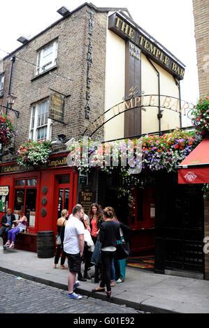 The famous Temple Bar Pub at Temple Bar, Dublin, Ireland - Stock Photo